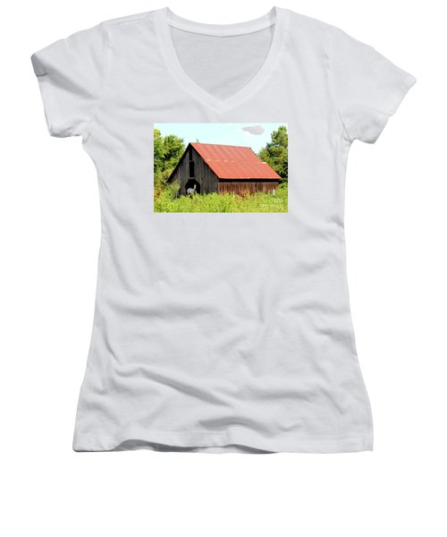 Women's V-Neck T-Shirt (Junior Cut) featuring the photograph White Horse Waiting by Kathy  White