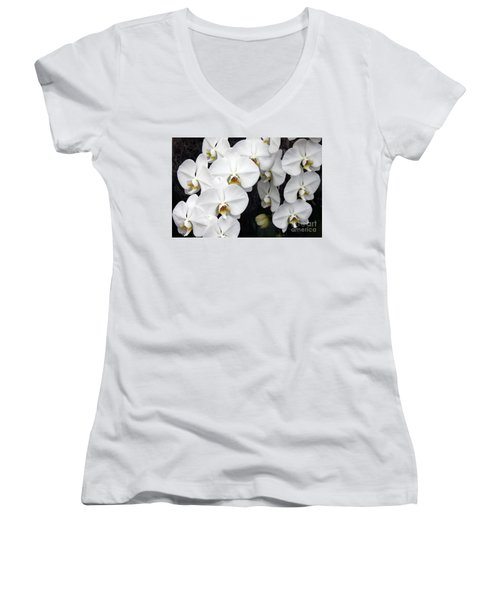 Women's V-Neck T-Shirt (Junior Cut) featuring the photograph White Orchids by Debbie Hart