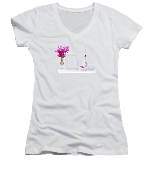 White Picture Frame In Decoration Women's V-Neck T-Shirt (Junior Cut) by Atiketta Sangasaeng