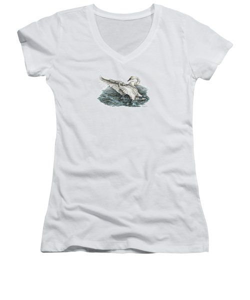 White Swan - Dreams Take Flight-tinted Women's V-Neck T-Shirt (Junior Cut) by Kelli Swan