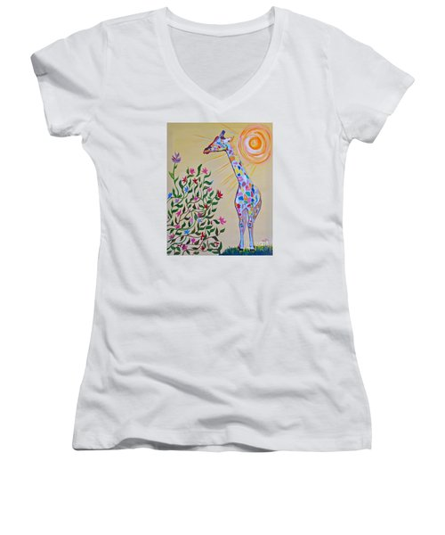 Wild And Crazy Giraffe Women's V-Neck T-Shirt (Junior Cut) by Phyllis Kaltenbach