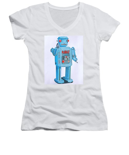 Wind-up Robot Women's V-Neck T-Shirt