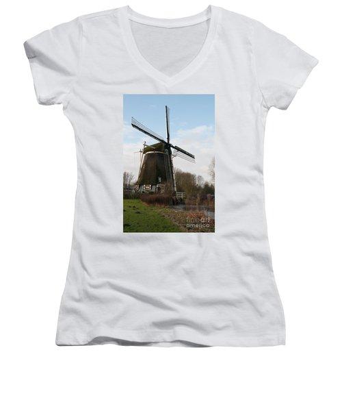 Women's V-Neck T-Shirt (Junior Cut) featuring the digital art Windmill In Amsterdam by Carol Ailles