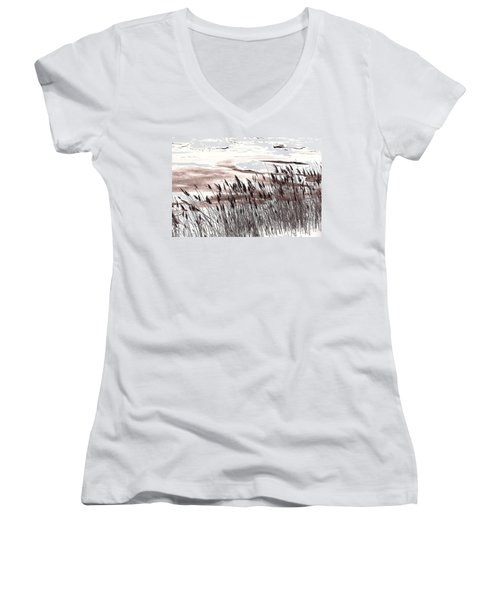 Winter Grasses Women's V-Neck T-Shirt
