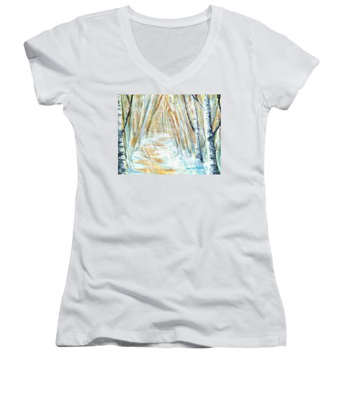Women's V-Neck T-Shirt (Junior Cut) featuring the painting Winter by Shana Rowe Jackson