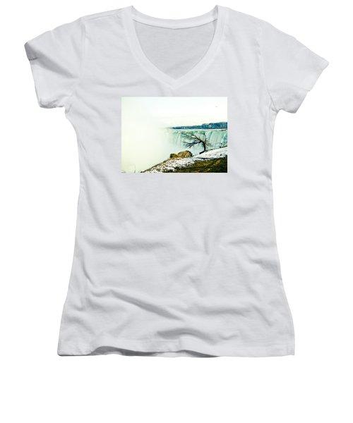 Women's V-Neck T-Shirt (Junior Cut) featuring the photograph Wonder by Sara Frank