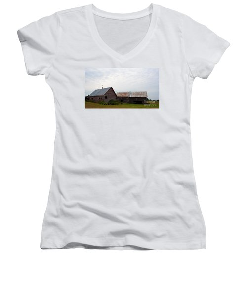 Women's V-Neck T-Shirt (Junior Cut) featuring the photograph Wood And Log Sheds by Barbara McMahon