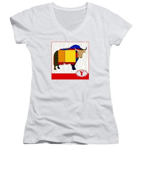 Y Is For Yak Women's V-Neck T-Shirt (Junior Cut) by Elaine Plesser