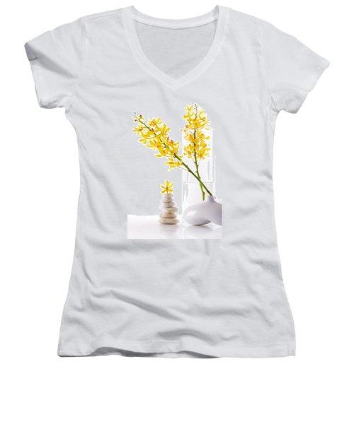 Yellow Orchid Bunchs Women's V-Neck T-Shirt (Junior Cut) by Atiketta Sangasaeng