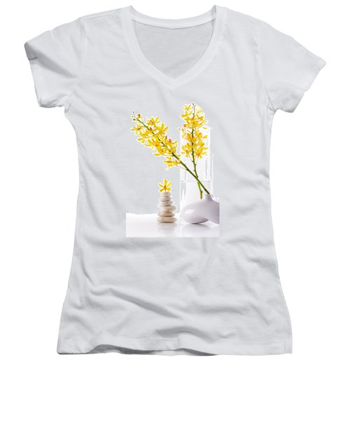 Yellow Orchid Bunchs Women's V-Neck T-Shirt