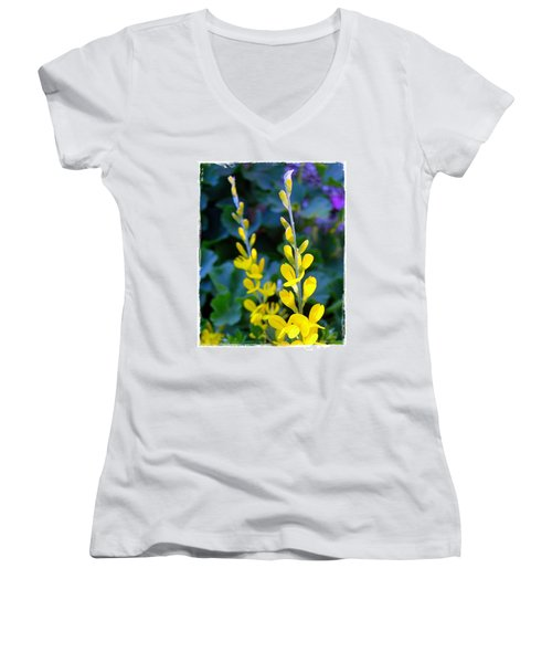 Women's V-Neck T-Shirt (Junior Cut) featuring the photograph Yellow Plumes by Judi Bagwell