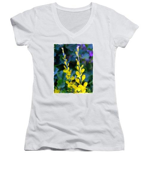 Yellow Plumes Women's V-Neck T-Shirt (Junior Cut) by Judi Bagwell
