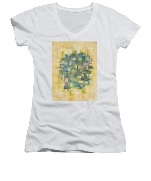 Yellow With Green  Women's V-Neck T-Shirt (Junior Cut)