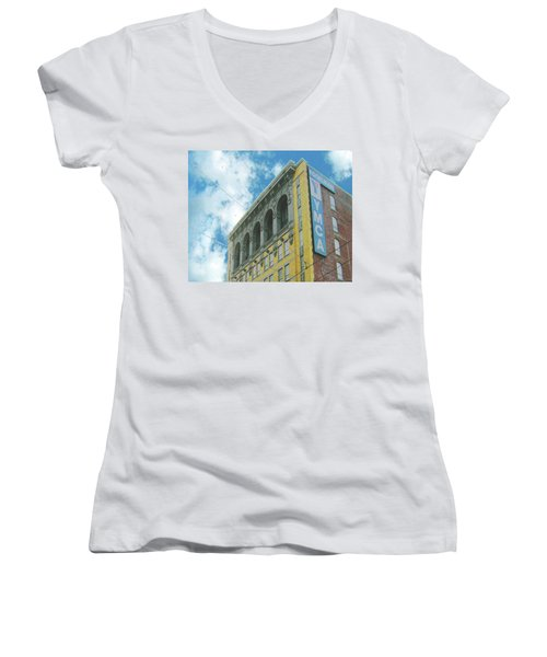 Women's V-Neck T-Shirt (Junior Cut) featuring the photograph Ymca by Lizi Beard-Ward