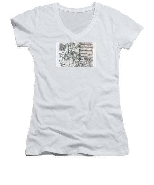 Young Girl Feeding The Chickens In The 1800's Women's V-Neck T-Shirt (Junior Cut)
