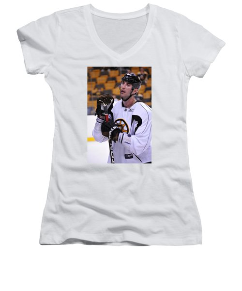 Women's V-Neck T-Shirt (Junior Cut) featuring the photograph Zdeno Chara Takes A Break by Mike Martin