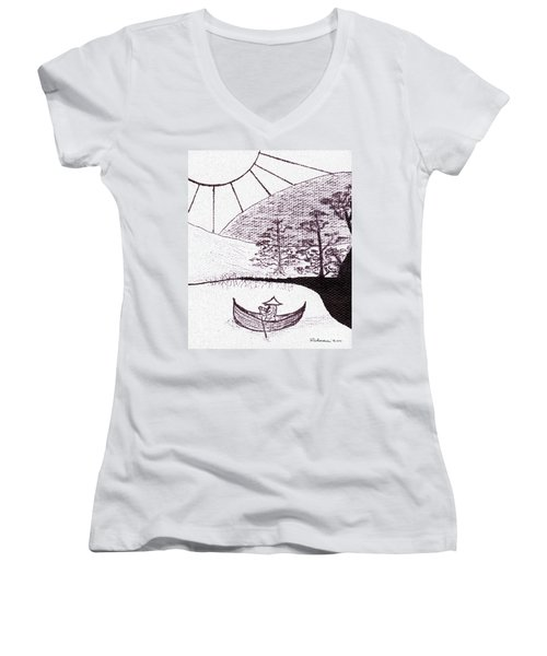 Zen Sumi Asian Lake Fisherman Black Ink On White Canvas Women's V-Neck