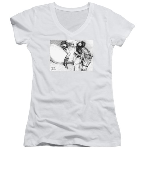 Cowgirl Riding A Hourse Women's V-Neck (Athletic Fit)