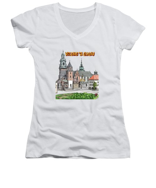 Women's V-Neck T-Shirt (Junior Cut) featuring the painting  Cracow.world Youth Day In 2016. by Andrzej Szczerski