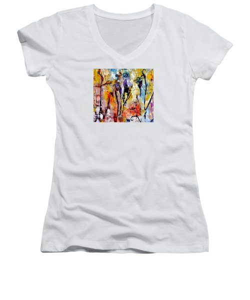 Crazy Messy Fall Yard Art Women's V-Neck T-Shirt