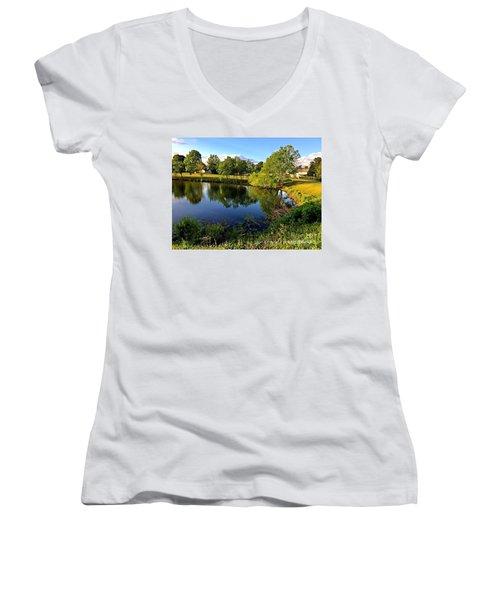 Women's V-Neck T-Shirt (Junior Cut) featuring the photograph  Cypress Creek - No.430 by Joe Finney