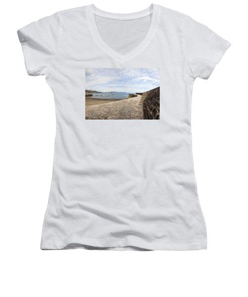 Harbour Wall Lyme Bay Dorset Women's V-Neck T-Shirt