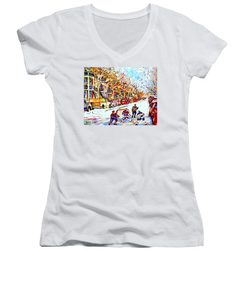 Hockey Game On Colonial Street  Near Roy Montreal City Scene Women's V-Neck