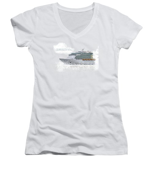 I've Been Nauticle On Independence Of The Seas On Transparent Background Women's V-Neck T-Shirt (Junior Cut) by Terri Waters
