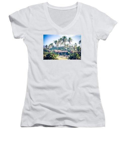 Women's V-Neck T-Shirt featuring the photograph  Lanakila 'ihi'ihi O Iehowa O Na Kaua Church Keanae Maui Hawaii by Sharon Mau