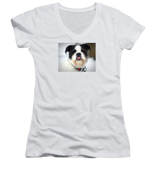 Women's V-Neck T-Shirt (Junior Cut) featuring the photograph  Pink by Al Fritz