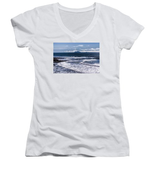 Point Loma And Islos Los Coronados Women's V-Neck T-Shirt (Junior Cut) by Daniel Hebard