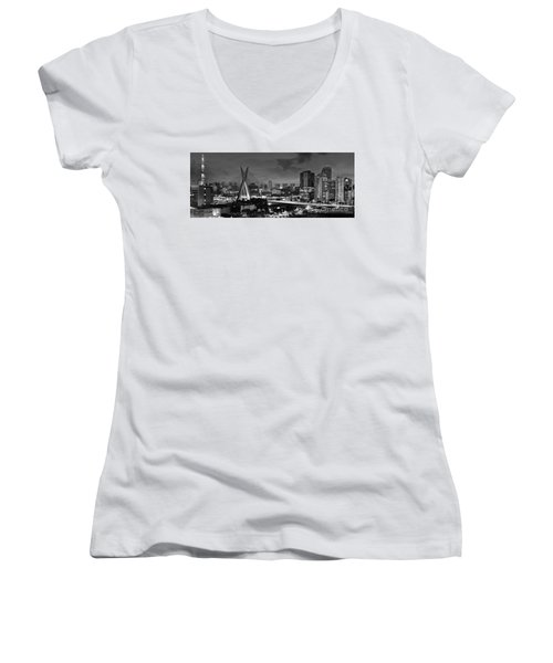Sao Paulo Iconic Skyline - Cable-stayed Bridge - Ponte Estaiada Women's V-Neck (Athletic Fit)