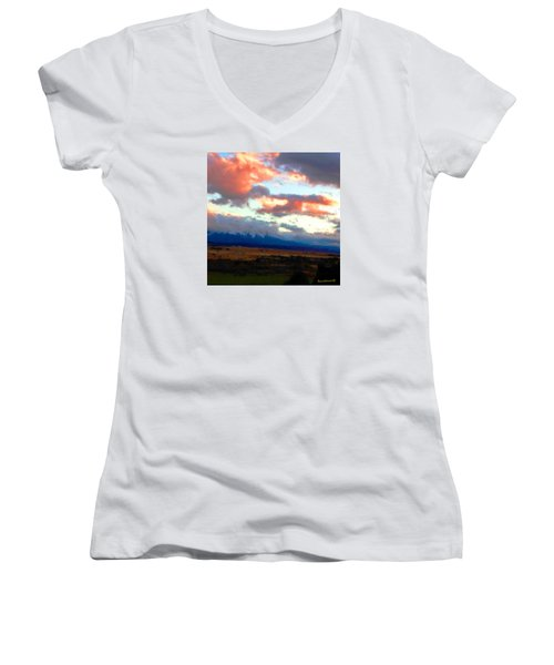Women's V-Neck T-Shirt (Junior Cut) featuring the photograph  Sunset Clouds Over Spanish Peaks by Anastasia Savage Ealy