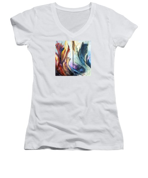 Women's V-Neck T-Shirt (Junior Cut) featuring the painting 01321 Fire And Waves by AnneKarin Glass