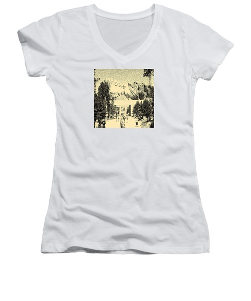 04252015 Mount Rush More Women's V-Neck T-Shirt (Junior Cut) by Garland Oldham