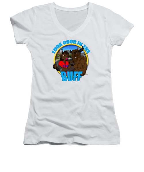 09 Look Good In The Buff Women's V-Neck T-Shirt (Junior Cut) by Michael Frank Jr