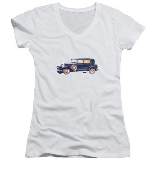 1929 Studebaker Commander Women's V-Neck T-Shirt (Junior Cut) by John Haldane