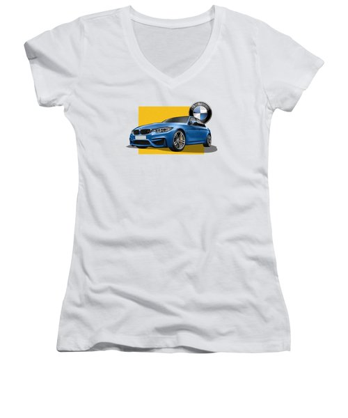 2016  B M W  M 3  Sedan With 3 D Badge  Women's V-Neck T-Shirt (Junior Cut) by Serge Averbukh