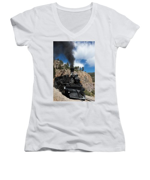 Women's V-Neck T-Shirt (Junior Cut) featuring the photograph A Durango And Silverton Narrow Gauge Scenic Railroad Train Chugs Through The San Juan Mountains by Carol M Highsmith