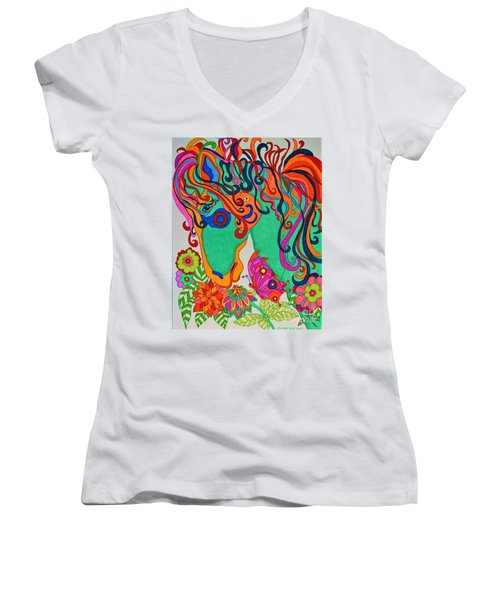 A Rainbow Called Romeo Women's V-Neck T-Shirt (Junior Cut) by Alison Caltrider