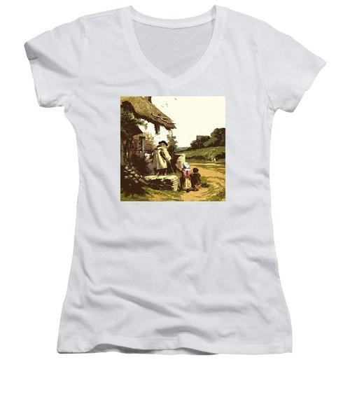A Walk With The Grand Kids Women's V-Neck T-Shirt (Junior Cut) by Digital Art Cafe