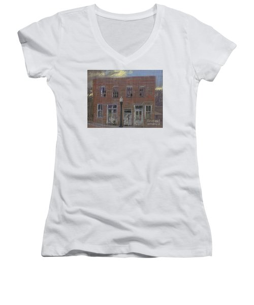 Women's V-Neck T-Shirt (Junior Cut) featuring the painting Abandoned by Donald Maier