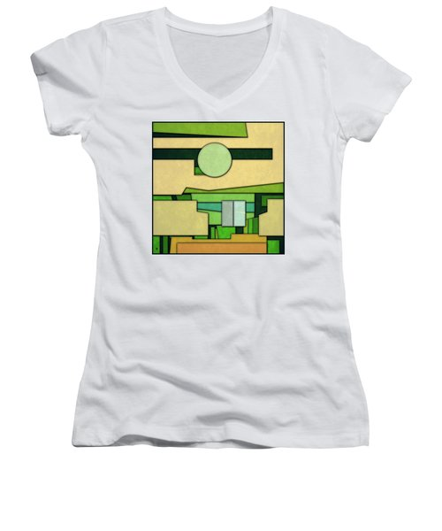Abstract Cubist Women's V-Neck T-Shirt (Junior Cut)