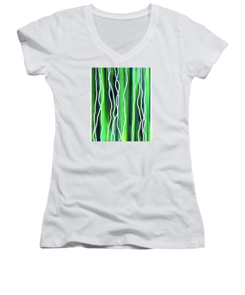 Abstract Lines On Green Women's V-Neck T-Shirt (Junior Cut) by Irina Sztukowski