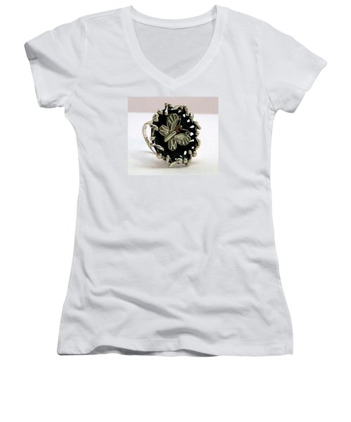 Acrea Viola Women's V-Neck T-Shirt (Junior Cut) by Mikhail Savchenko