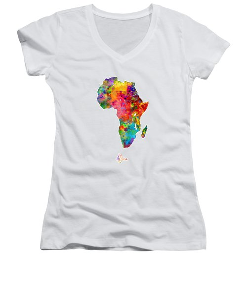 Africa Watercolor Map Women's V-Neck