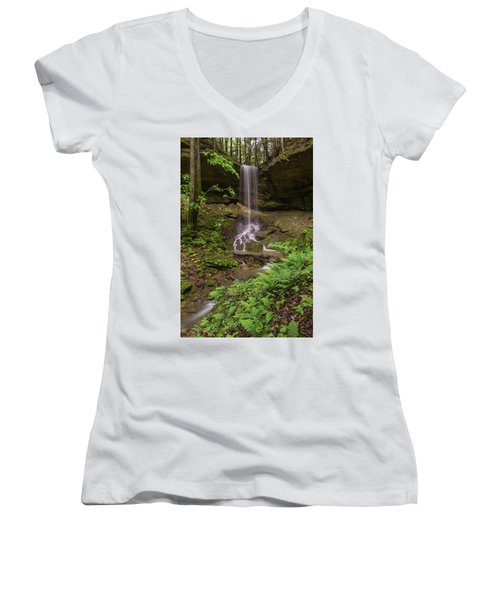Alcorn Falls. Women's V-Neck T-Shirt (Junior Cut) by Ulrich Burkhalter