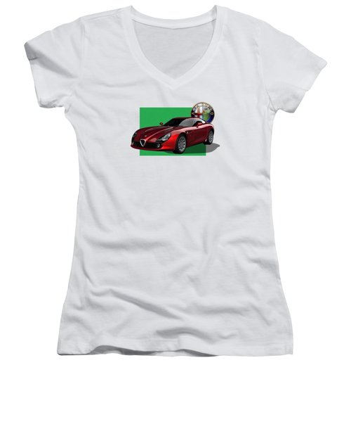 Alfa Romeo Zagato  T Z 3  Stradale With 3 D Badge  Women's V-Neck T-Shirt (Junior Cut) by Serge Averbukh