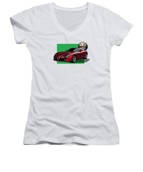 Alfa Romeo Zagato  T Z 3  Stradale With 3 D Badge  Women's V-Neck