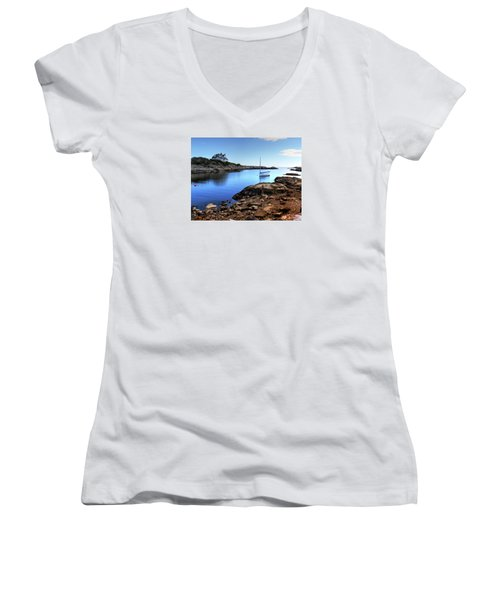 Women's V-Neck T-Shirt (Junior Cut) featuring the photograph Almost Paradise Newport Ri by Tom Prendergast